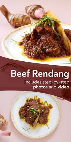 Rendang is a caramelized meat curry dish from West Sumatra, Indonesia. It needs hours of slow cookin - Indonesian recipes - Asian Recipes Meat Recipes, Indian Food Recipes, Asian Recipes, Cooking Recipes, Slow Cooking, Asian Desserts, Vietnamese Recipes, Indonesian Cuisine, Indonesian Recipes