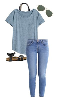 """I'm so ready for summerrr☀️"" by awillis296 ❤ liked on Polyvore featuring Hollister Co., H&M, Current/Elliott, Ray-Ban and Birkenstock"