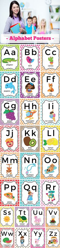 Alphabet Poster Bright Classroom Decor Alphabet Poster Bright Classroom Decor A English for kids Printable alphabet posters design with busy teachers in mind These nbsp hellip Alphabet Cards, Alphabet Posters, Printable Alphabet, Classroom Decor Themes, Classroom Organization, Classroom Labels, Student Learning, Fun Learning, School Resources