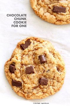 Vegan Chocolate Chunk Cookies for two o for 1. Easy Chocolate chip cookies that make 2 large cookies. Vegan Soyf-ree Palm Oil-free Recipe | VeganRicha.com