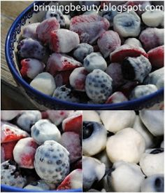 Frozen yogurt covered berries- healthy and delicious! Can do this with pretzels or raisins