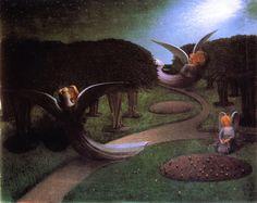 """""""The Angels of Night' by William Degouve de Nuncques <어둠속의 천사들> 몸이 없는 천사들의 포옹장면. 정신적 사랑을 표현함. 감은 눈-내면으로 향한 시선. 얼굴만 있고 몸은 어둠속에있어서 희미함. 육체가 결여된 포옹은 정신적임."""