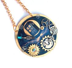 Doctor Who Necklace The Cracking of Time by TimeMachineJewelry