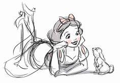No photo description available. Disney Sketches, Disney Drawings, Art Sketches, Disney Illustration, Illustrations, Disney Magic, Disney Art, Snow White Pictures, Winnie The Pooh