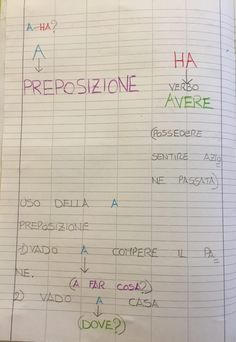 "Quaderno di italiano classe II ""Uso dell'H"" 