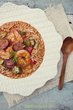 Smoked Sausage and Shrimp Gumbo via FoodforMyFamily.com