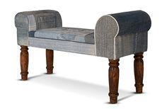 Sitzbank Second Jeans - recyceltes Akazienholz - blau - recycelter Jeansstoff Bezug