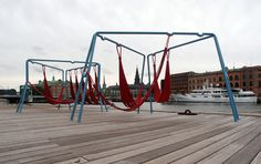 off ground - playful seating elements for public spaces 'off-ground' by amsterdam-based designers jair straschnow and gitte nygaard is made from recycled materials and features at the DAC: danish architecture centre, copenhagen, summer 2013 Landscape Concept, Urban Landscape, Landscape Design, Temporary Architecture, Landscape Architecture, Architecture Plan, Urban Furniture, Street Furniture, Outdoor Seating