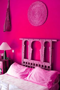 Moroccan decor: An old Moroccan window as a headboard. Walls painted in a warm Moroccan red. love the headboard so much! Decor, Pink Room, Pink Walls, Yellow Bedroom, Bedroom Decor, Interior, Moroccan Decor, Red Rooms, Home Decor