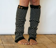 Chevron Crest : BLACK Chevron Leg Warmers w/ Assorted Gold Metal Military Buttons  (item no. 1-2). $26.00, via Etsy. With boots!