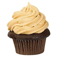 Chocolate cupcakes with peanut butter icing from prairie girl bakery