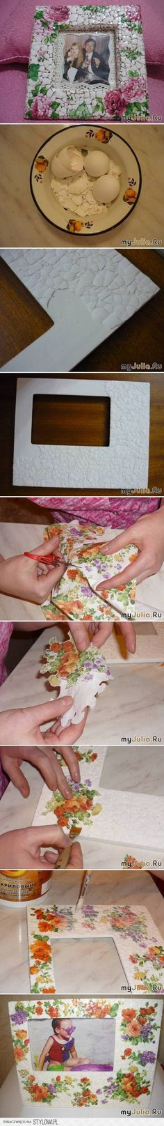 DIY Eggshell Mosaic Picture Frame DIY Projects   Useful… na Stylowi.pl