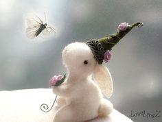 White felt fairy bunny with roses handmade enchanted от LoveLingZ