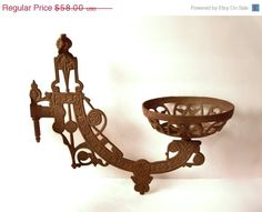 Cast Iron Gas Wall Lamp Bracket Fixture by MargsMostlyVintage Kerosene Lamp, Floral Theme, Oil Lamps, Simple House, Cool Items, Vintage Flowers, Vintage Home Decor, Etsy Vintage, Cast Iron