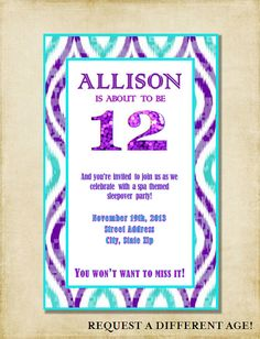 Birthday invitation cupcake bash printable file only child girl 12th birthday party invitation purple aqua by ashleymartindesigns filmwisefo