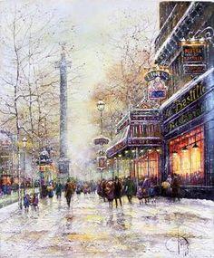 """""""Place de la Bastille en Hiver"""" Oil on Canvas Paris, Urban Landscape, Les Oeuvres, Big Ben, Oil On Canvas, Art Gallery, Exterior, Fine Art, Guys"""