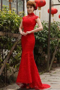 Beautiful Column/Sheath Short Sleeve Red Lace Chinese Wedding ...