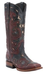 Lucchese® 1883? Ladies Red Mad Dog w/Black Overlay Double Welt Square Toe Western Boots | Cavender's