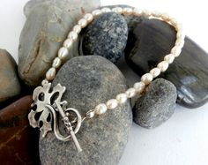 Freshwater Pearl Bracelet  Silver Clasp  Repurposed by ReTainReUse, $28.00
