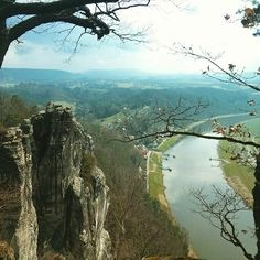 """These amazing rocks near Dresden are called Bastei, and this Natural Park is worth a visit! (Similar to """"los Mallos"""" in Spain)"""