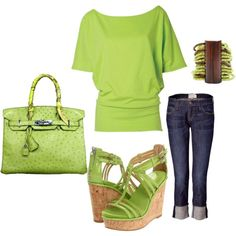 Outfit - LOVE THE LIME GREEN; OBSESSED WITH THE SHOES!