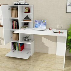 Dekorister Domingos Desk with Bookcase White-Walnut- Dekorister Domingos Kitaplıklı Çalışma Masası Beyaz-Ceviz Dekorister Domingos Desk with Bookcase White-Walnut Price - Home Office Furniture Desk, Small Furniture, Study Table Designs, Computer Desk With Hutch, Corner Desk, Study Desk, White Desks, Diy Desk, Modern House Design