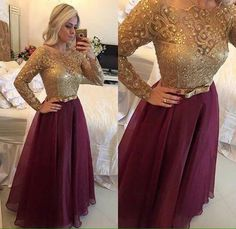 Long sleeve burgundy mermaid prom dresses organza lace beaded boat neck zipper-up floor length formal evening dresses Muslim Evening Dresses, Long Sleeve Evening Dresses, Prom Dresses Long With Sleeves, Mermaid Prom Dresses, Homecoming Dresses, Bridesmaid Dresses, Formal Dresses, Dress Prom, Dream Dress