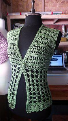 Ideas For Crochet Lace Vest Pattern Free Libraries Gilet Crochet, Crochet Vest Pattern, Crochet Jacket, Crochet Cardigan, Crochet Shawl, Knitting Patterns Free, Free Crochet, Knit Crochet, Crochet Patterns