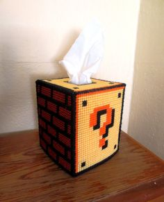 Super Mario Bros. Question Block Tissue Box by CrazyCraftLadies, $35.00