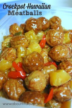 Crockpot Hawaiian Meatballs. So easy and the best Hawaiian meatball recipe.