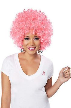 Brand New Pink Afro Breast Cancer Awareness Costume Wig in Clothing, Shoes & Accessories, Costumes, Reenactment, Theater, Accessories | eBay