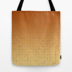 Blue square fragments on a orange and beige background Tote Bag - $22.00