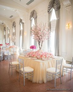 Pink Cherry Blossom Tabletop Trees in Bed of Pink Roses, Hydrangea, and Carnations by The French Bouquet - James Walton Photo