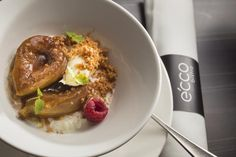 Try our our roast fig rice pudding, honey mascarpone + spice crumb.