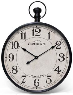Grand Central clock by Infinity Instruments. Large wall clock, pocket watch design. #clock #decor #antique