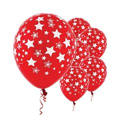 Red Balloons with White Stars