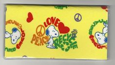 Checkbook Cover Peanuts Snoopy Peace Yellow