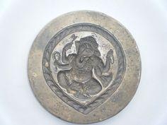Vintage Old Brass Stamp Ganesha Die Mold Jewellery Tool Metal God India Rare#832