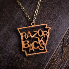 Wood Razorbacks Mascot Necklace on bourbonandboots.com #WPS #razorbacks #arkansas #SEC #football