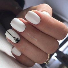 White nails with delicate black detail