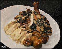 *Medvedie kurča*   ...alebo domáce kurča s medvedím cesnakom, baklažánovým hummusom a pečeným ružičkovým kelom...