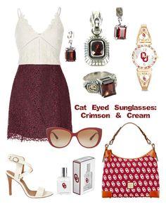 """Cat Eyed Sunglasses:  Crimson & Cream"" by tammy-gardner on Polyvore featuring Joe's Jeans, Carven, River Island, Dooney & Bourke, The Bradford Exchange, Bulgari and cateyedsunglasses"