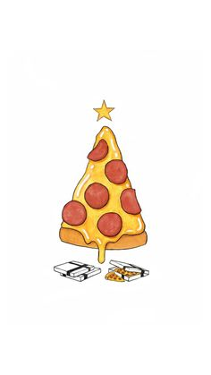 Pizza Christmas Tree Presents #iPhone #6 #wallpaper
