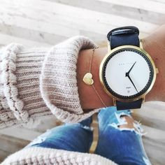 heart bracelet + gold watch