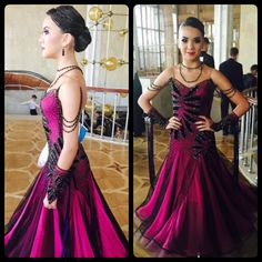 Bright and shiny elegant st dress! It looks so perfect and it's created by DLK! Ballroom Costumes, Ballroom Dance Dresses, Dance Costumes, Latin Dresses, Formal Dresses, Purple And Black, Pink Purple, Latin Dance, Gymnastics Leotards