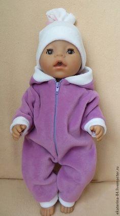 Комбинезон для куклы - сиреневый,одежда для кукол,одежда для беби бона