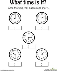 1st Grade Time to the Quarter-Hour Worksheets