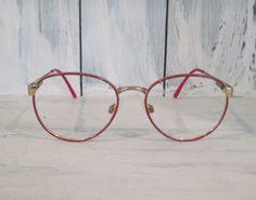 Vintage Safilo Elasta red color round eyeglasses frames for women, red eyeglasses frames, round eyeglasses frames, retro eyeglass for woman by HTArtcraftAndVintage, $38.99