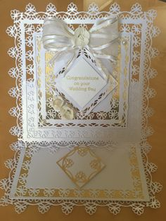 Card made using Venetian lace dies, love how delicate the laced effect is. So many different ways to use these dies.
