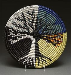 Coiled Pictorial Basket by Elsie Holiday (Navajo) Gorgeous!Gallery Grade sisal handmade basket by Tintsaba in Swa American Indian Art, Native American Art, Pine Needle Crafts, Mochila Crochet, Native American Baskets, Tapestry Crochet Patterns, Pine Needle Baskets, Weaving Art, Native Art
